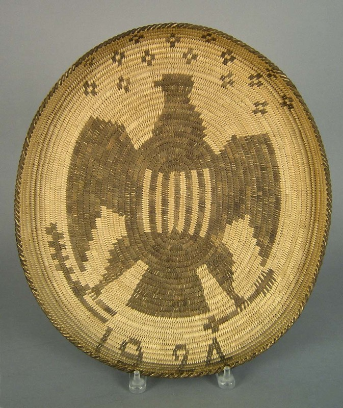 Pima coiled tray dated 1924, with American eagle d