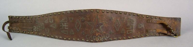 Southwest hide belt, ca. 1910, with brass tack dec