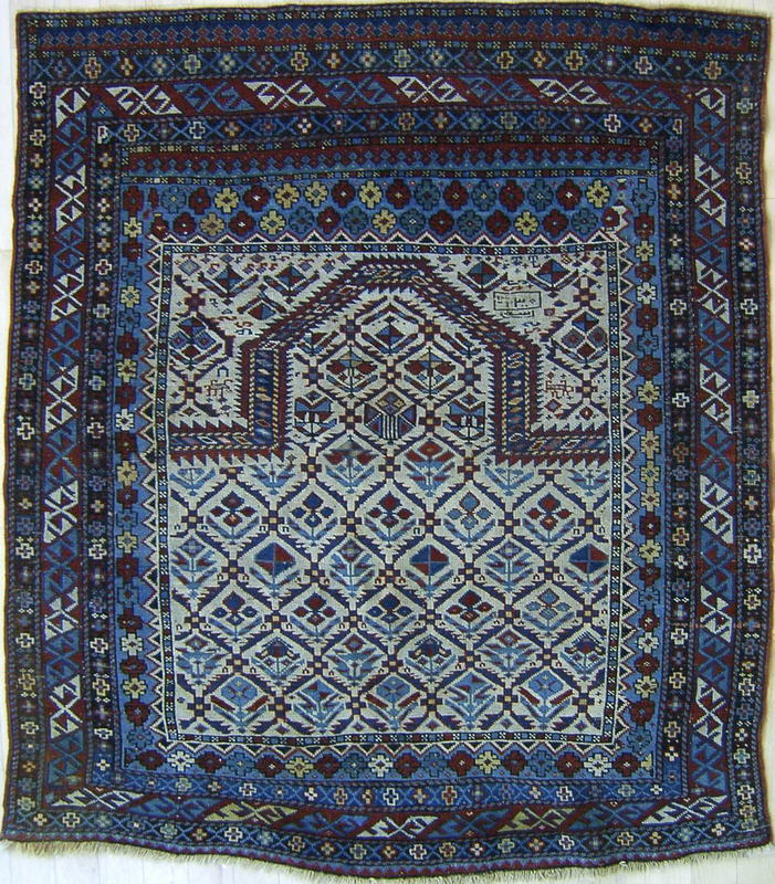 Dagestan prayer rug, late 19th c., with ivory fiel