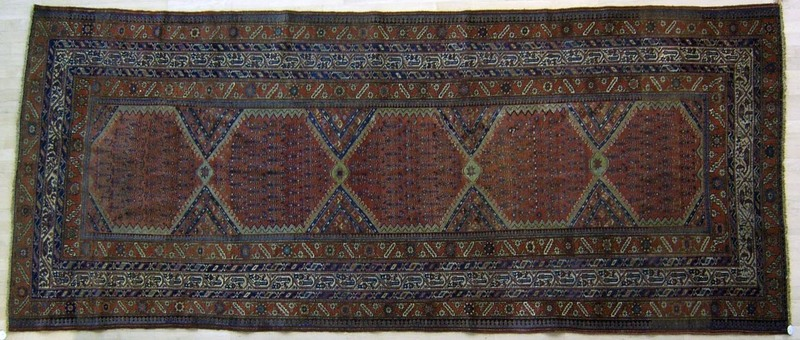 Hamadan long rug, ca. 1910, with boteh design on a