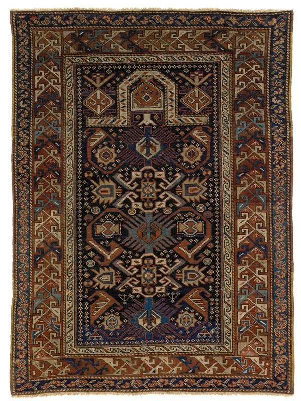 Shirvan prayer rug, 19th c., with navy mehrab andu