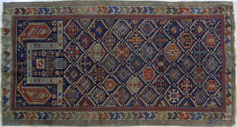 Shirvan prayer rug, ca. 1900, with repeating medal