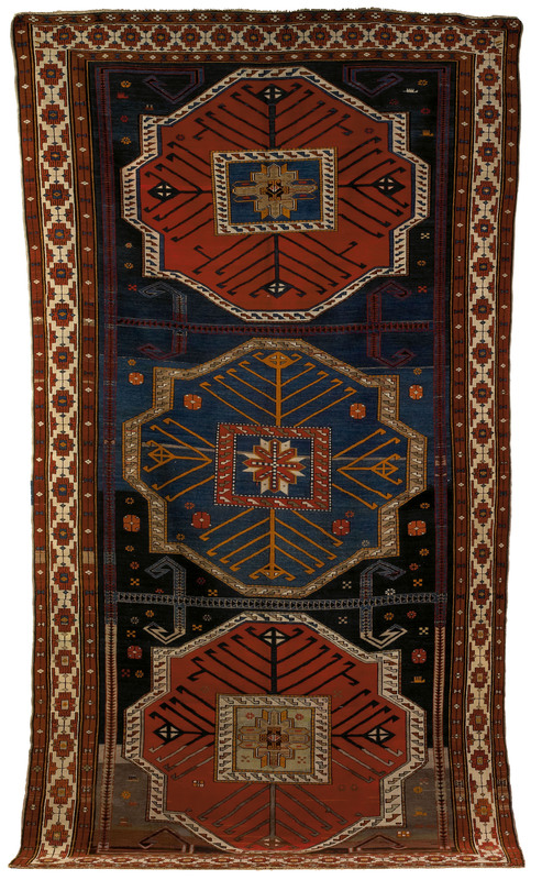 Roomsize Caucasian rug, ca. 1915, with 3 medallion