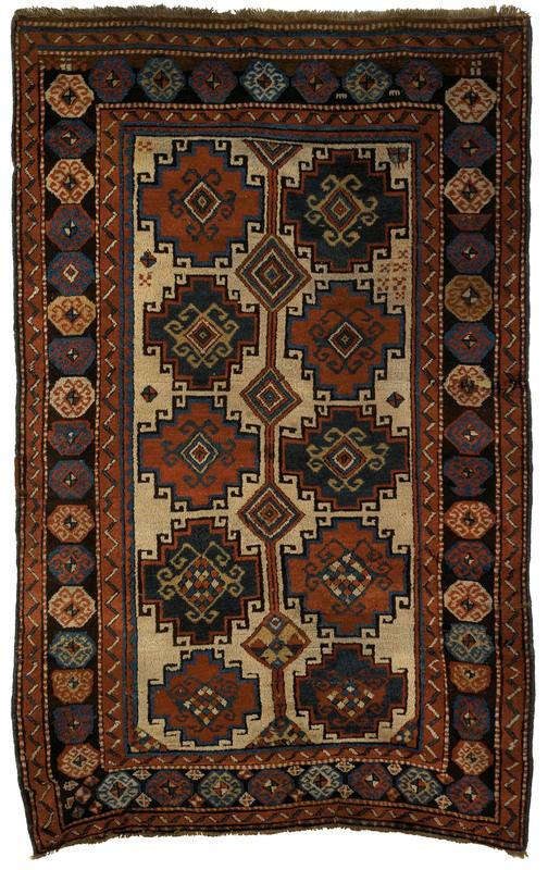 Moghan Kazak throw rug, 19th c., with 10 medallion