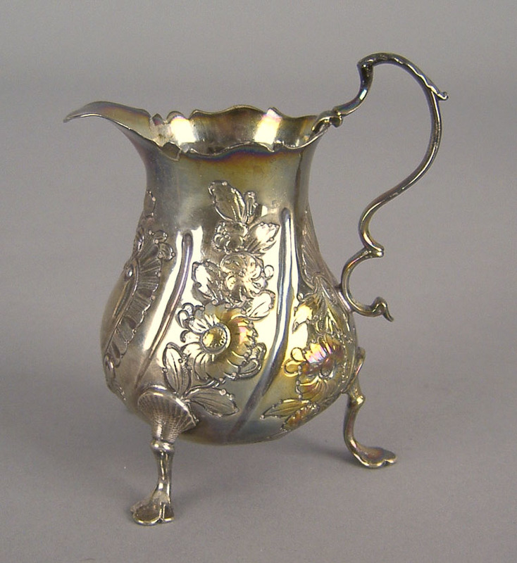 English silver gilt repousse creamer 1757-1758, be