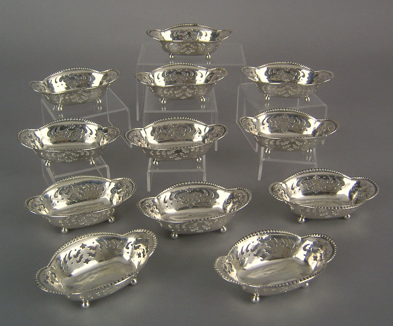 Set of 12 Tiffany & Co. sterling silver nut dishes