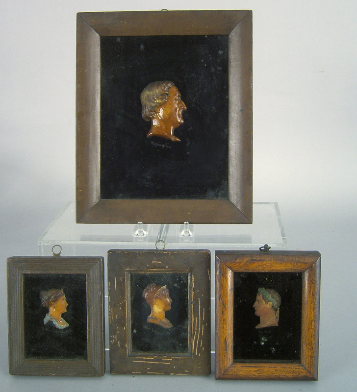 Four wax profile busts, 19th c., of George Washing