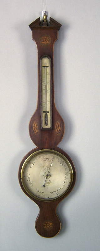 Regency mahogany banjo barometer, 19th c., signedA