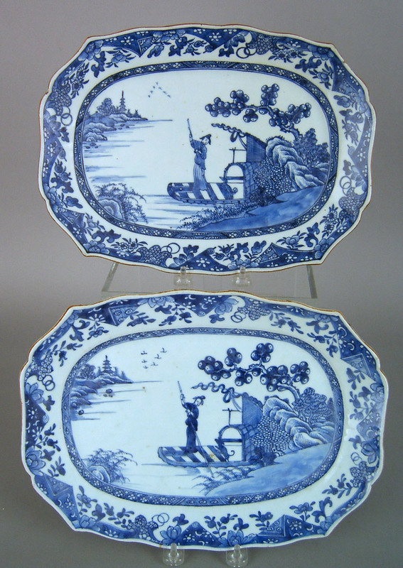 Pair of Chinese export blue and white platters, 19