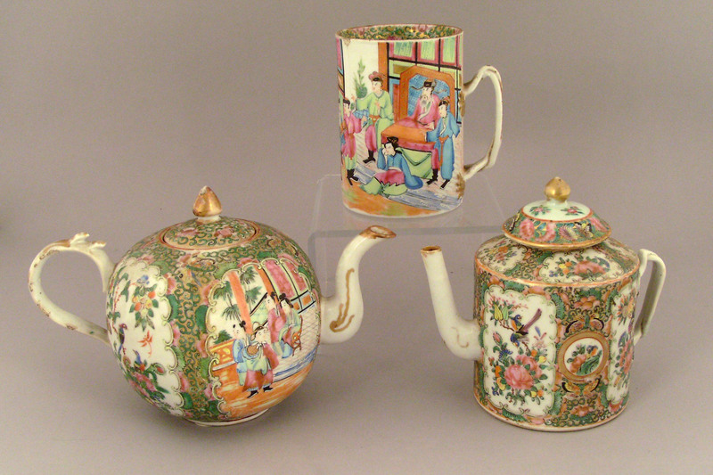 Two Chinese export rose medallion teapots, 19th c.