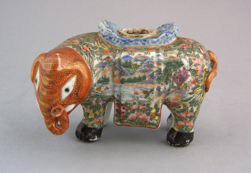 Chinese export famille rose elephant joss stick ho
