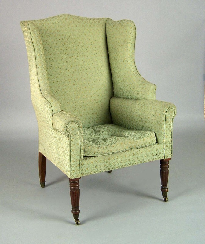 Sheraton mahogany wing chair, ca. 1815, with arche