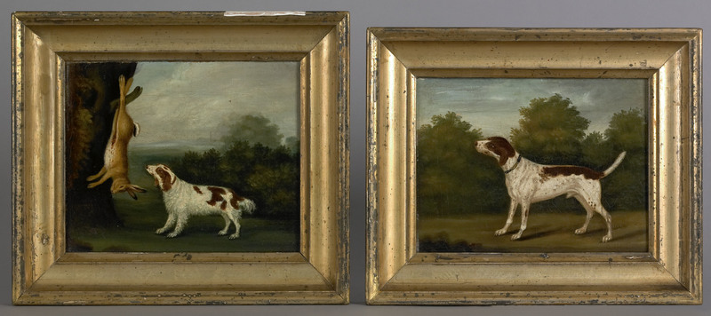 Pair of oil on canvas portraits of hunting dogs, c