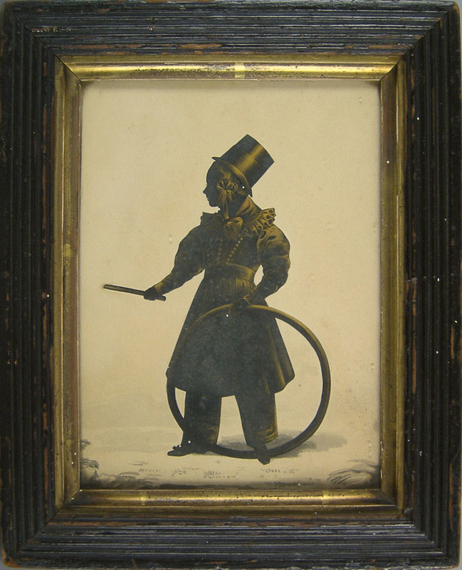Watercolor and gold wash silhouette of a boy with