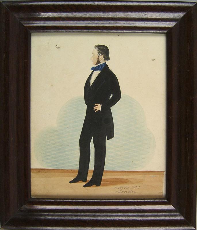 Huston(British, mid 19th c.), watercolor portraitf