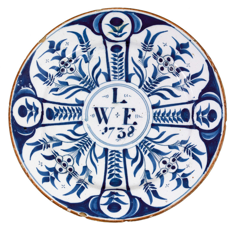 Delftware blue and white plate dated 1738
