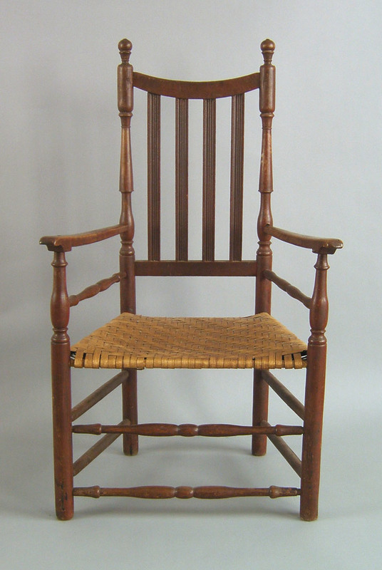 New England Queen Anne banister back armchair, ca.