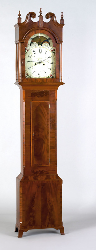 Pennsylvania Federal mahogany tall case clock, ear