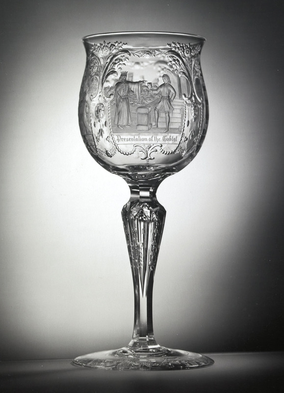 Highly rare T.G. Hawkes and Co. clear glass goblet