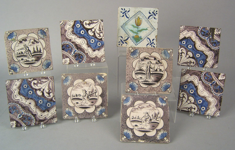 Nine Dutch delft tiles, late 18th c. Provenance: D