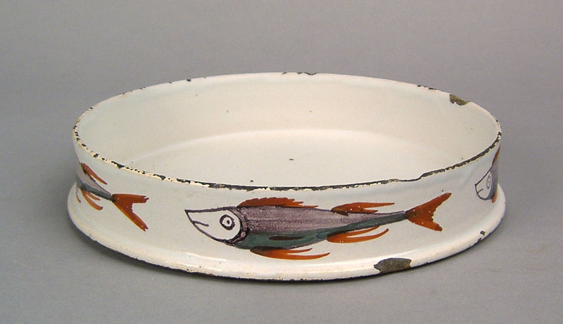English delft char-dish, late 18th c., with polych