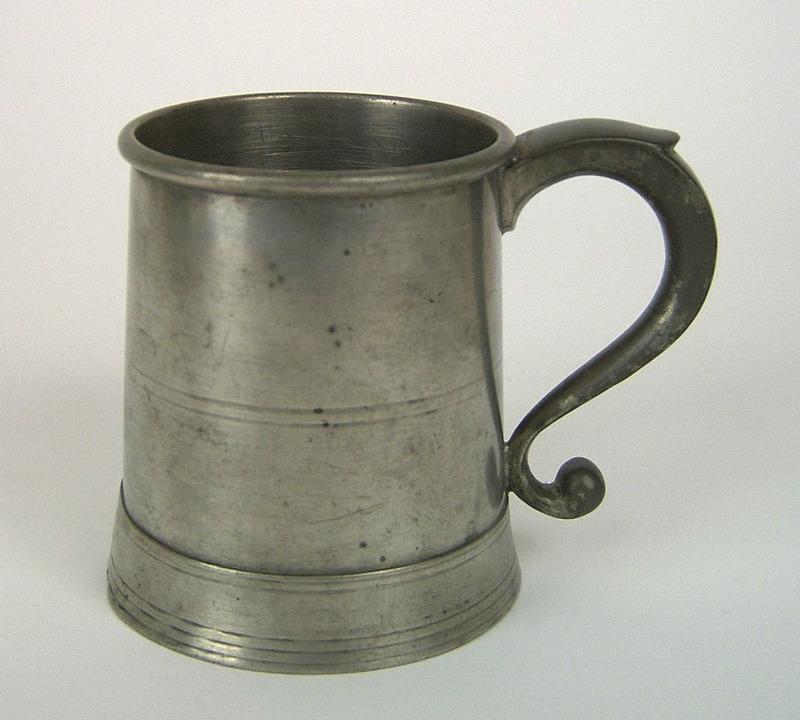 New York pewter pint mug, 1828-1853, bearing the m