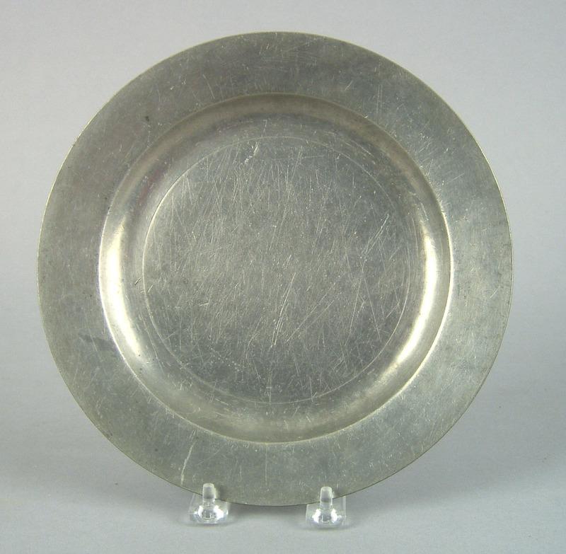 American pewter plate, attributed to Cornelius Bra