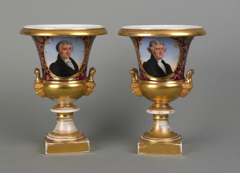 Rare pair of Paris porcelain urns