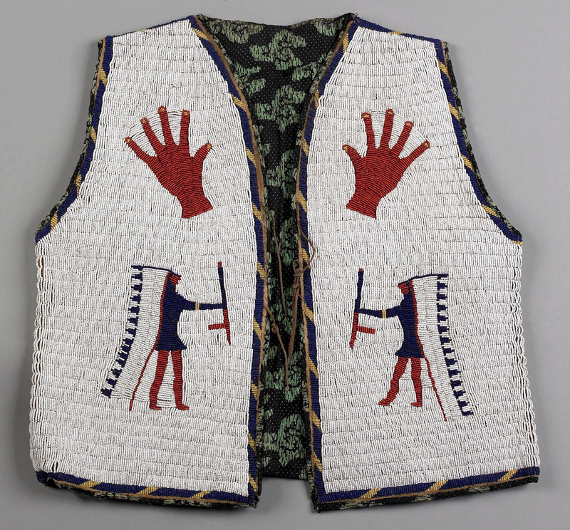 Sioux pictorial fully beaded hide man's vest