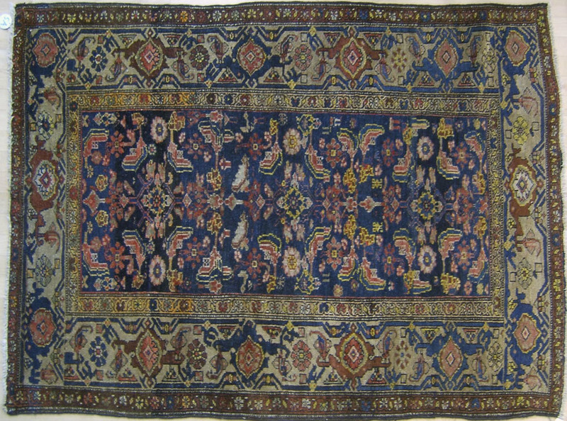 Two Hamadan throw rugs, ca. 1930, 5'8