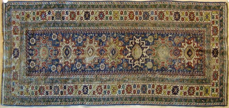 Lesghi star Shirvan throw rug, ca. 1900, 7'6