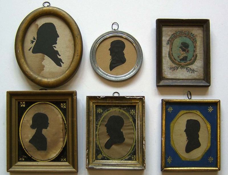 Six silhouettes, 19th c., one stamped