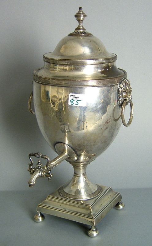 Sheffield plated hot water urn, 19th c., 20 1/2