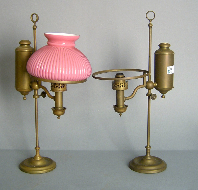 Pair of brass student lamps, pat. 1863 by C.A. Kle