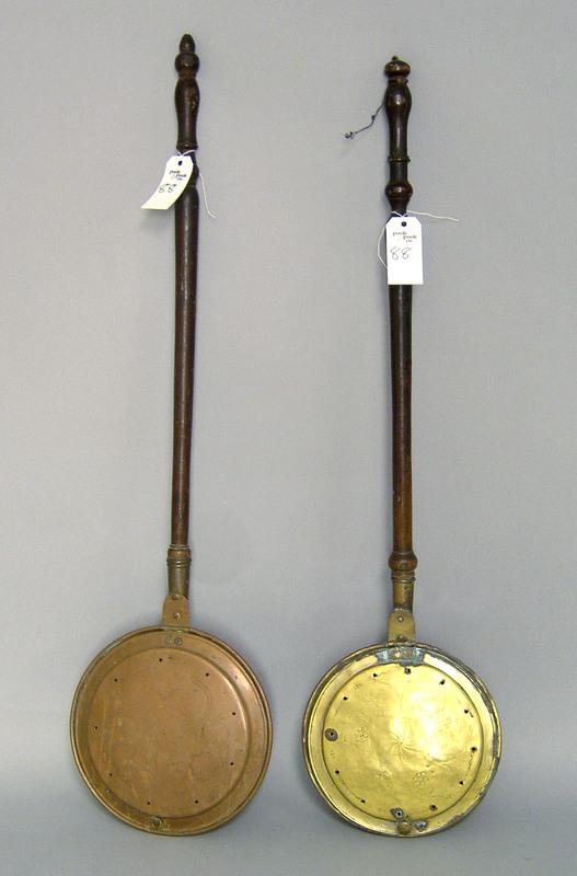 Brass bedwarmer, 19th c., 43