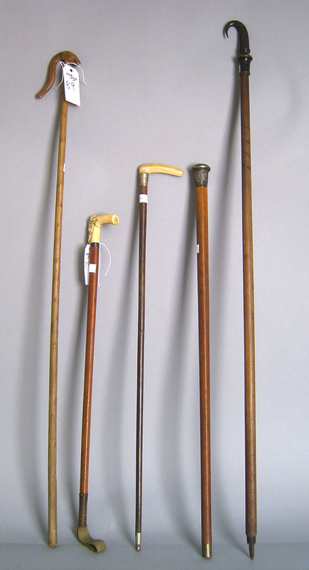 Five canes, 19th c., two with ivory grips.
