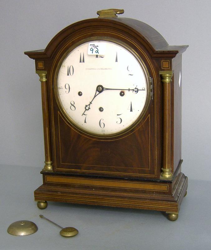 J.E. Caldwell mahogany bracket clock, early 20th c