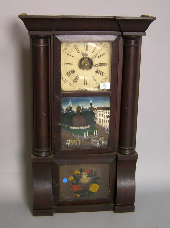 Empire mahogany mantel clock, 19th c., by Birge, P