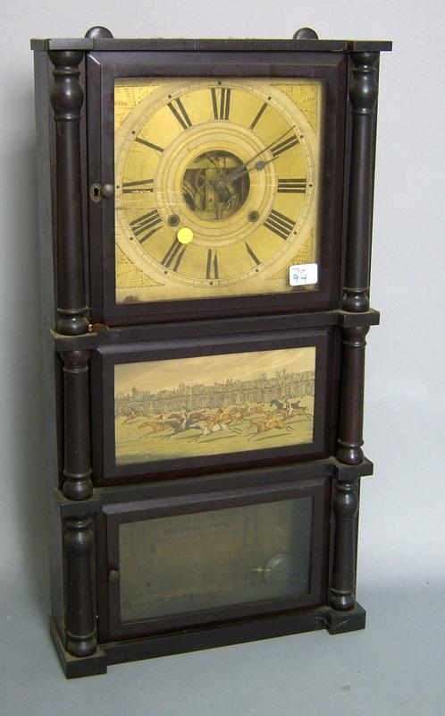Empire mahogany mantle clock, 19th c., by Birge, M