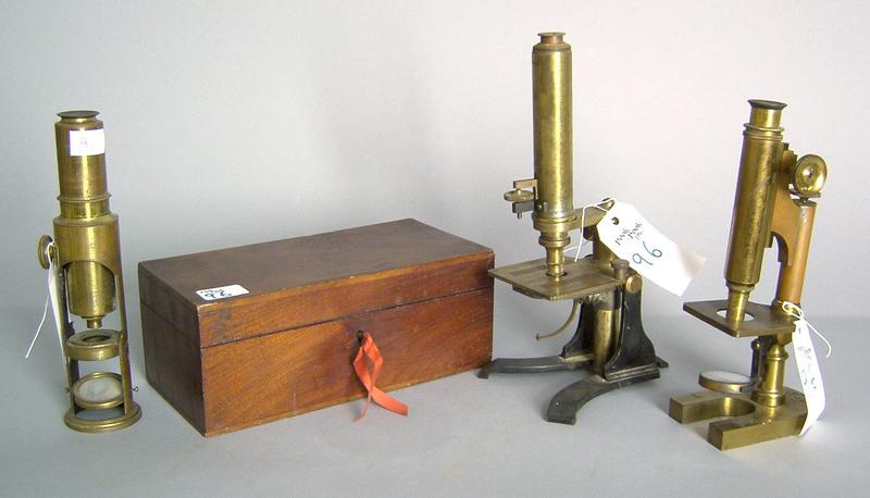 Brass microscope, 19th c., by J. Parkes & Son, Bir