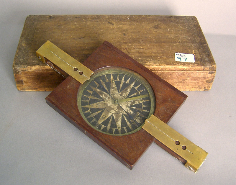 Brass and mahogany compass, 19th c., with case, 13