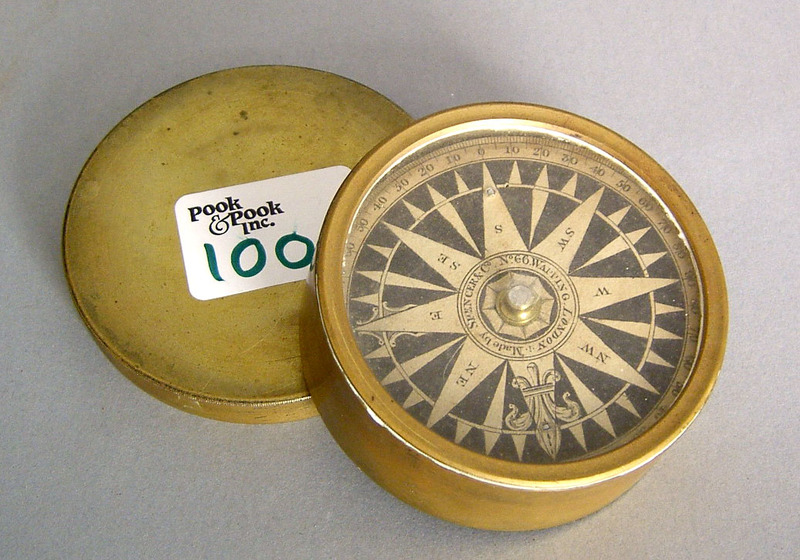 Brass cased compass by Spencer & Co., London, 3 1/