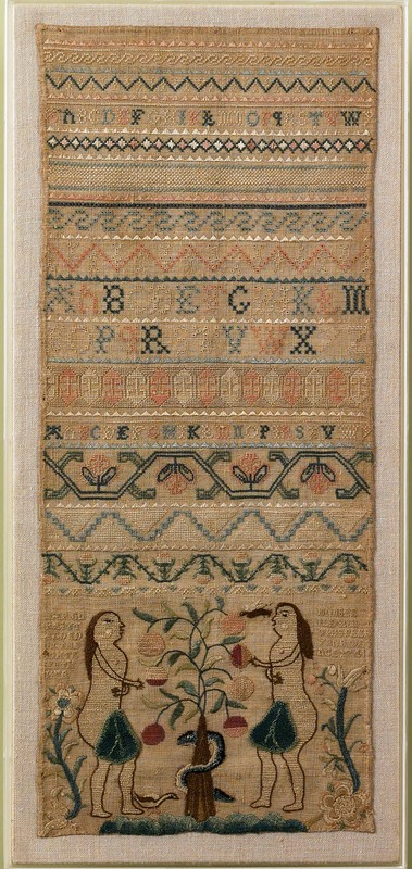 Vibrant early Boston band sampler with alphabet an