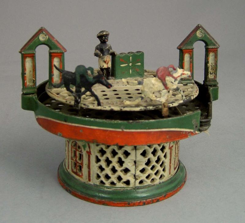 Horse race mechanical bank by J. & E. Stevens Co.,