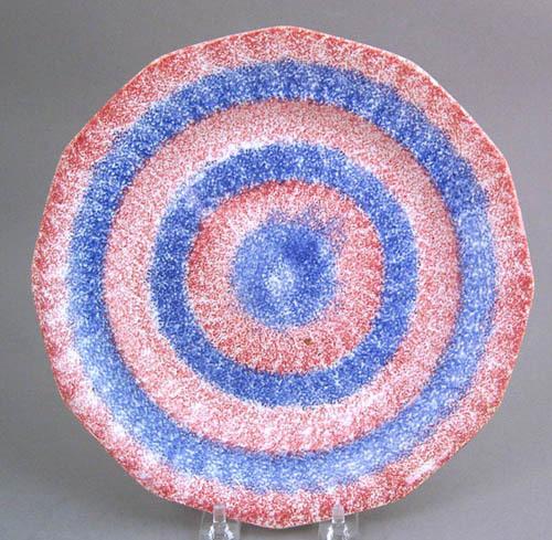 Red and blue rainbow spatter bullseye paneled plat