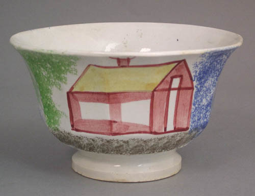 Blue spatter paneled wastebowl with red schoolhous