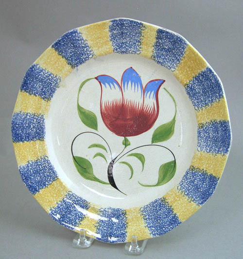 Blue and yellow rainbow spatter paneled plate with