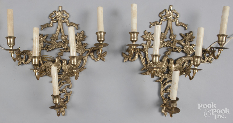 Pair of gilt metal sconces, early/mid 20th c.