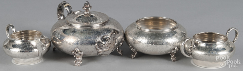 Four-piece sterling silver tea service