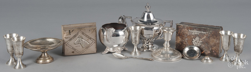 Group of weighted sterling silver and silver plate